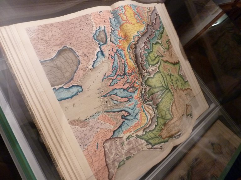 Book of William Smith's maps on display at the Oxford University Museum of Natural History