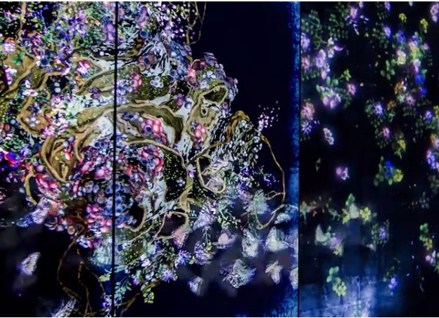 Butterflies and flowers: image from teamLab at http://exhibition.team-lab.net/singapore/art/art03.html